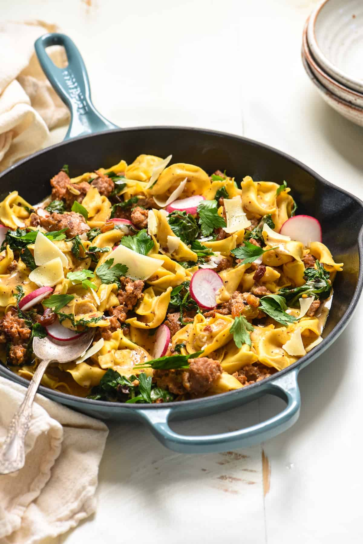 ThisOne Pan Sausage & Tortellini can be on the table in minimal time with minimal dishes. It's a perfect balance of creamy, spicy and sweet, and there's tons of hidden veggies, too! | foxeslovelemons.com