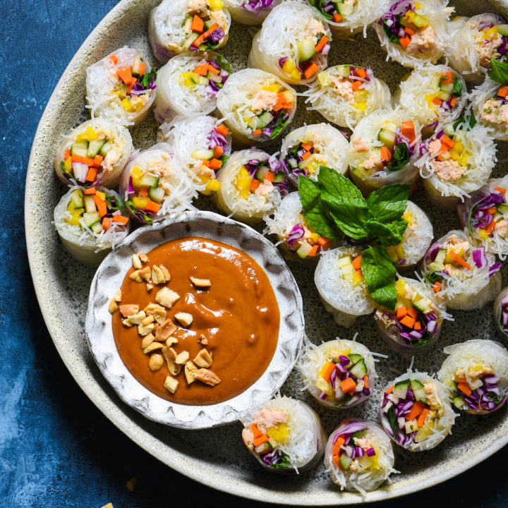 Salmon Fresh Rolls with Spicy Peanut Sauce