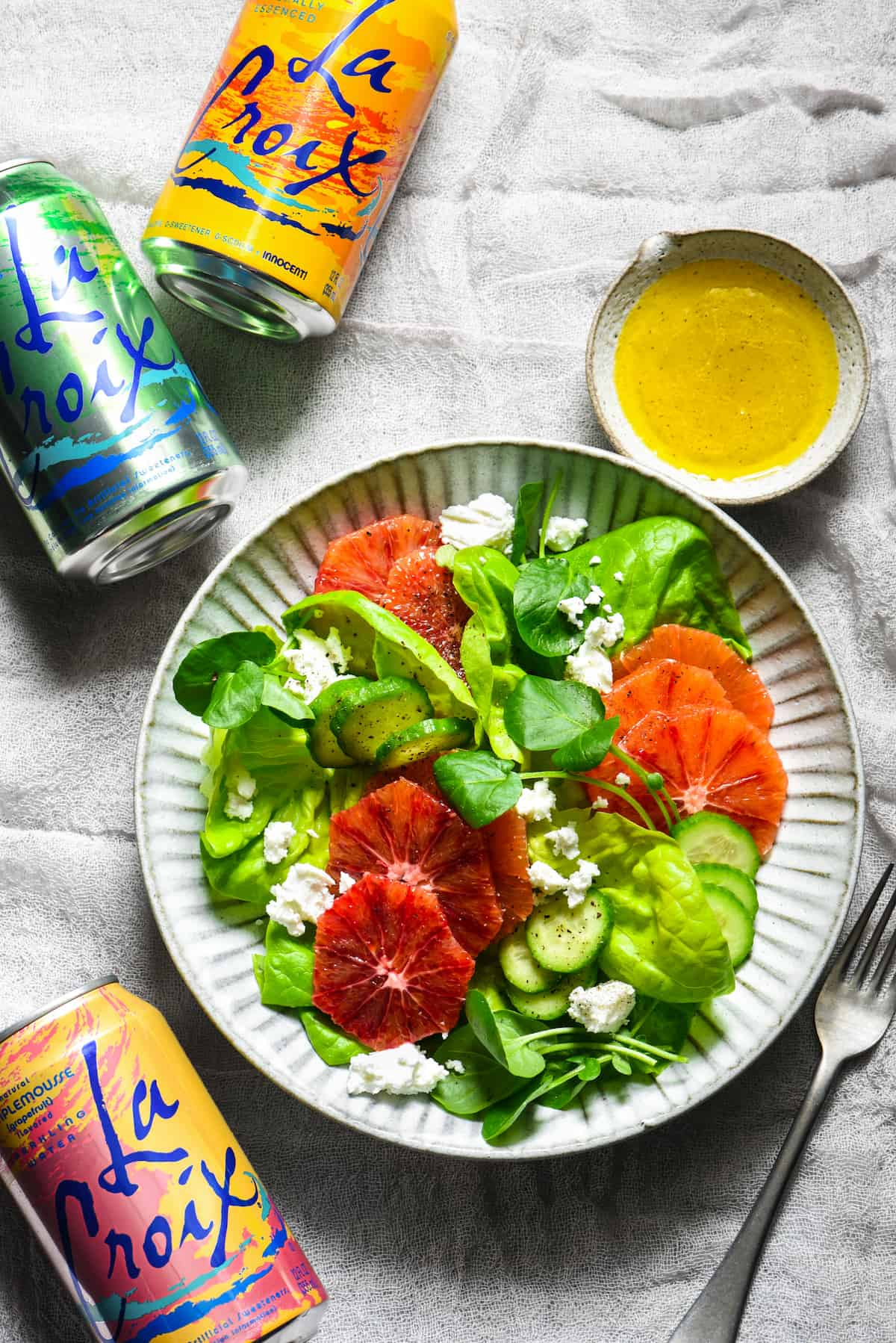 Take your LaCroix obsession to the next level with this LaCroix Salad Dressing - a light and fizzy vinaigrette that will enhance the fresh flavors of any simple salad. | foxeslovelemons.com