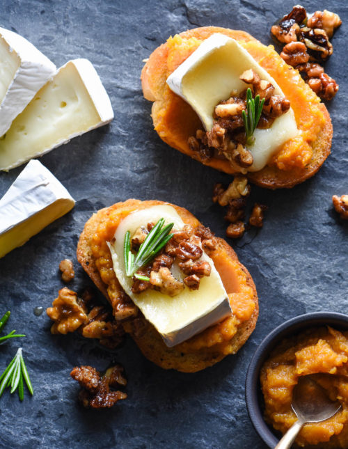 Impress your guests this holiday season with thesePumpkin & Brie Crostini with Candied Nuts. They look totally fancy, but they're 100% achievable for home cooks of all levels!   foxeslovelemons.com