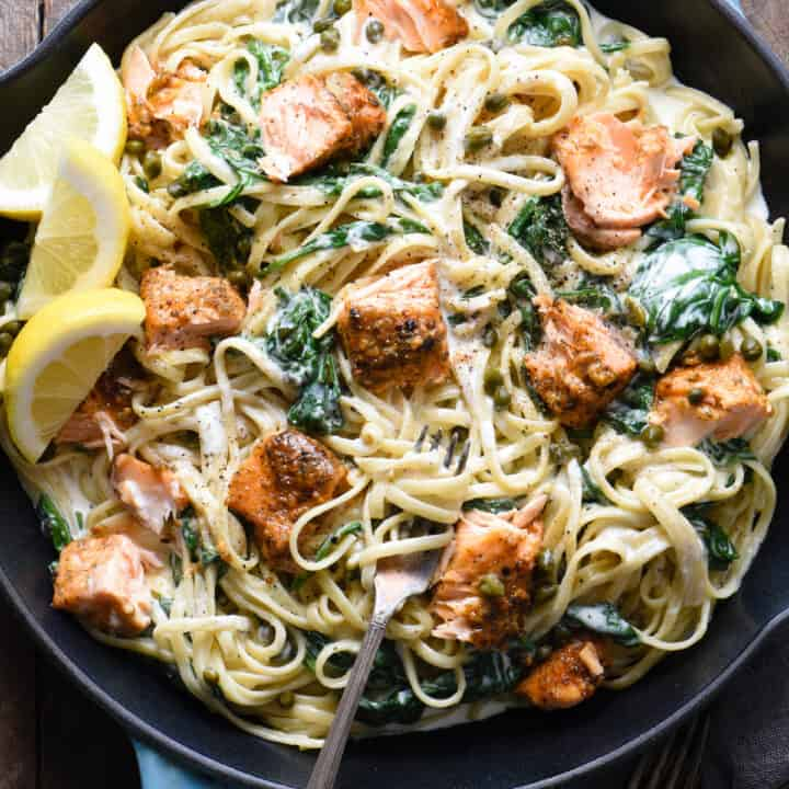 Creamy Salmon Pasta with Spinach