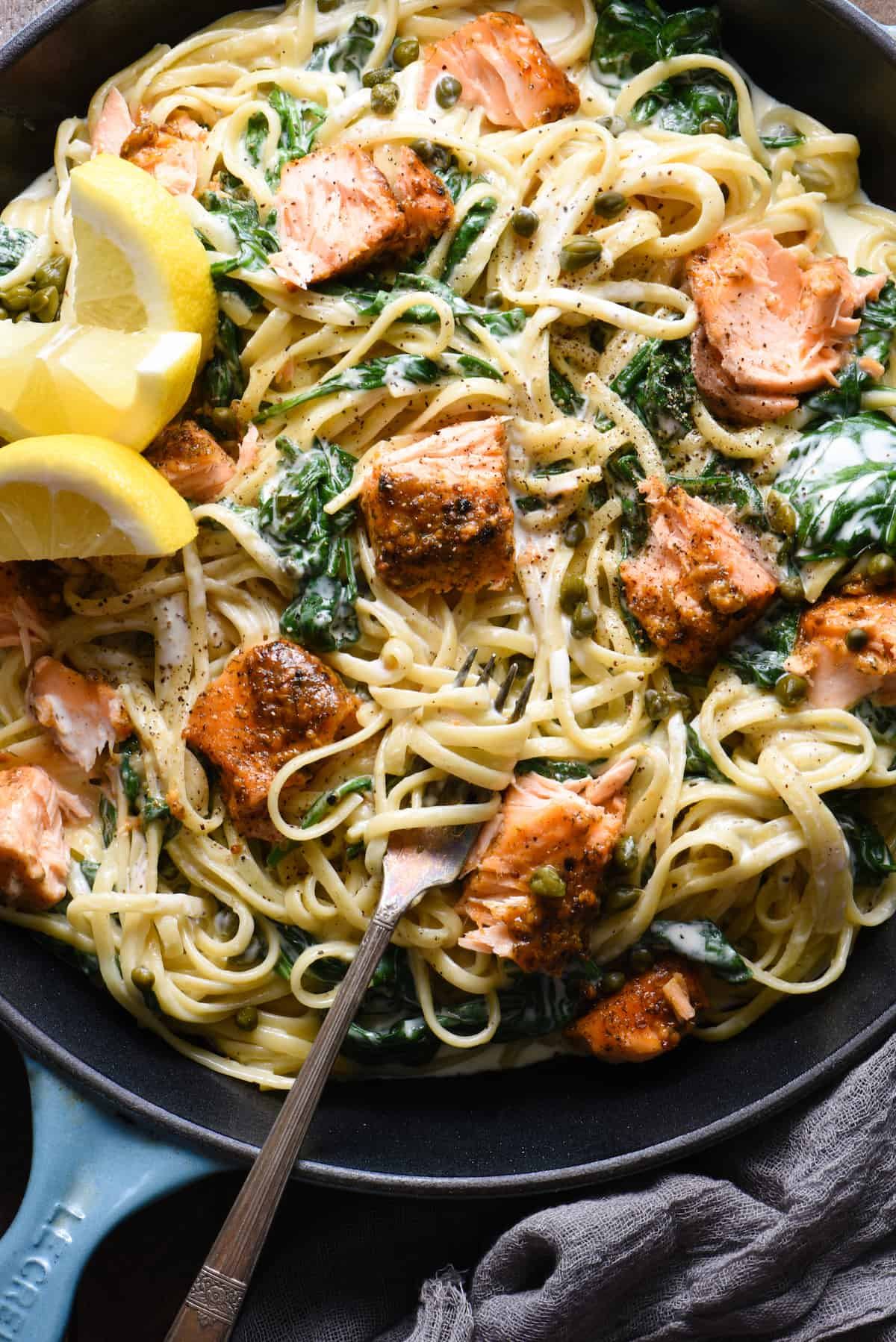 "This Creamy Salmon Pasta recipe is a great way to show off what a ""home chef"" you are. Simple yet impressive, this is a perfect recipe for a date night at home. 