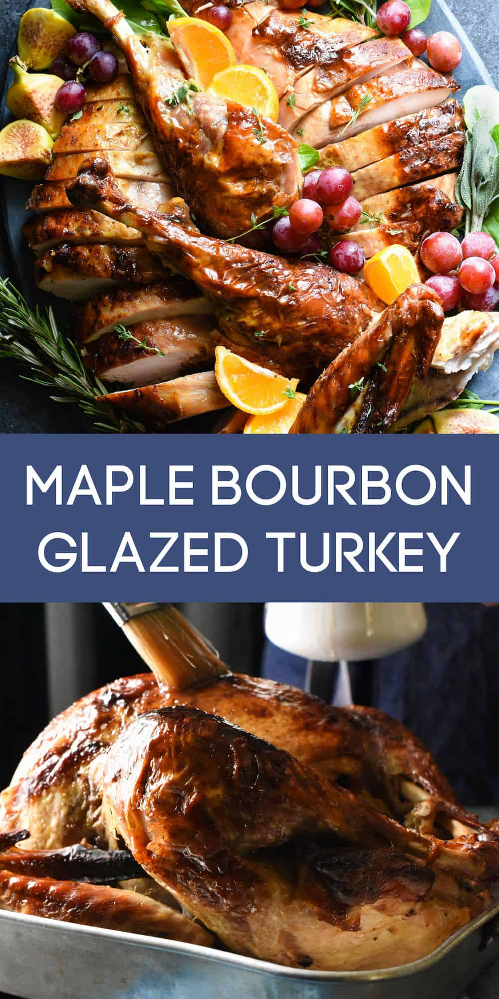 Collage of images of glazed roasted turkey with overlay MAPLE BOURBON GLAZED TURKEY.