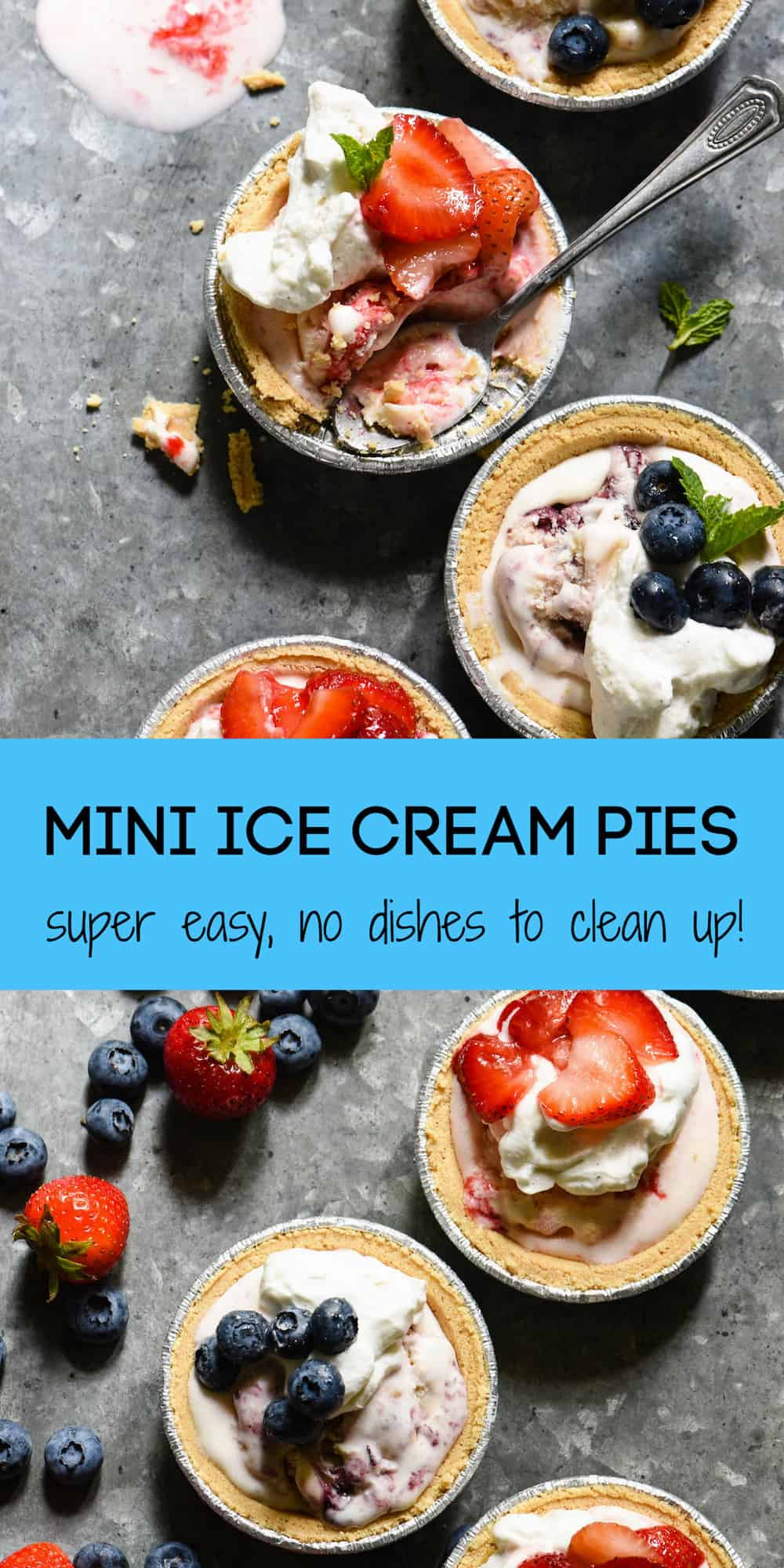 Celebrate summer's sweeter moments with Mini Ice Cream Pies. They take just minutes to put together, and there's no dishes to clean up once they're served! | foxeslovelemons.com