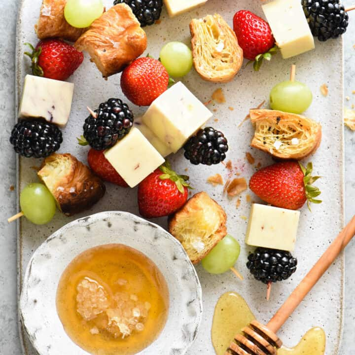Fruit and Cheese Kabobs with Croissant Croutons