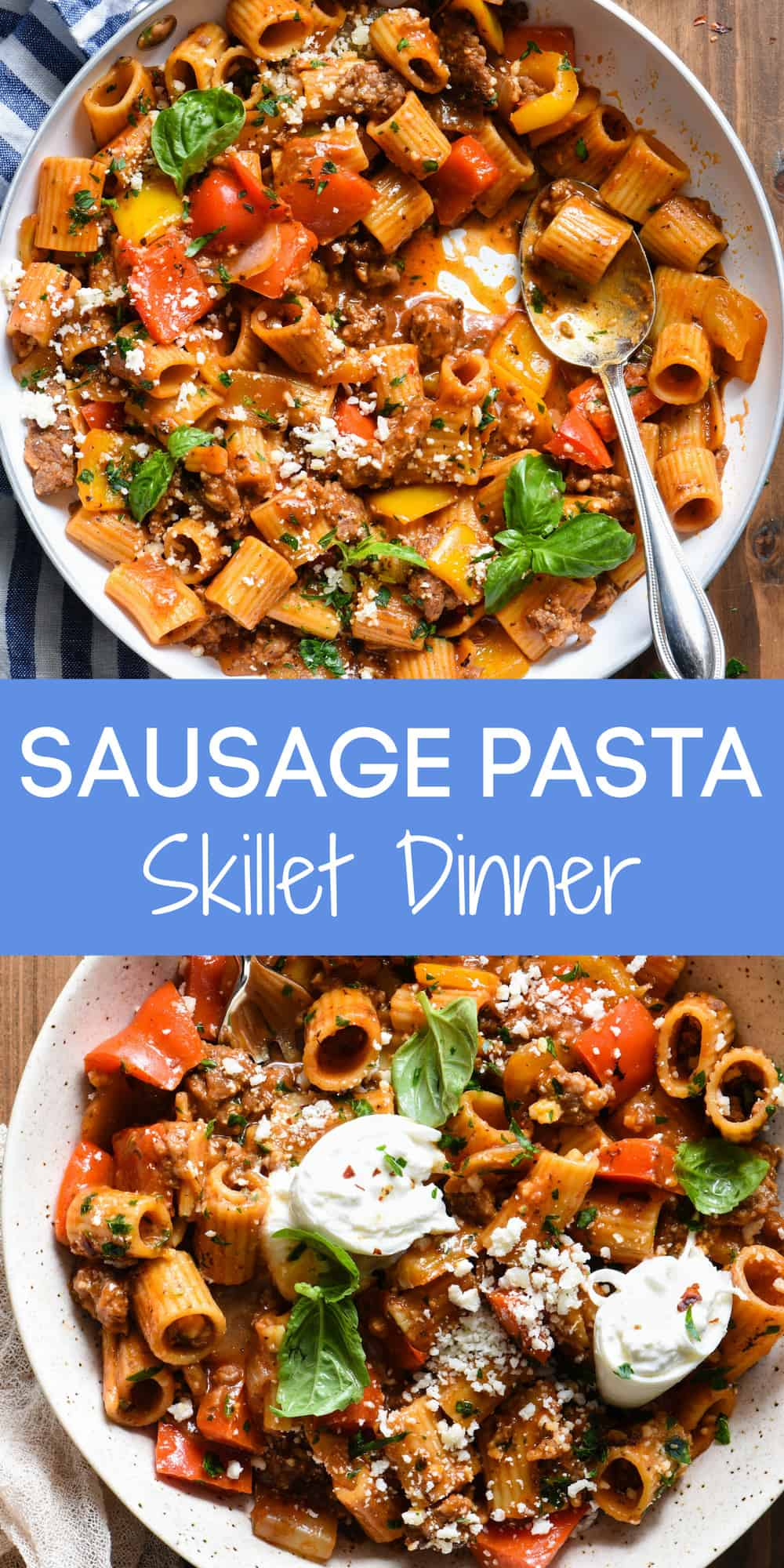 This Italian Sausage Pasta Skillet Dinner is a comforting yet veggie-packed meal that is made from start to finish in JUST ONE SKILLET.   foxeslovelemons.com