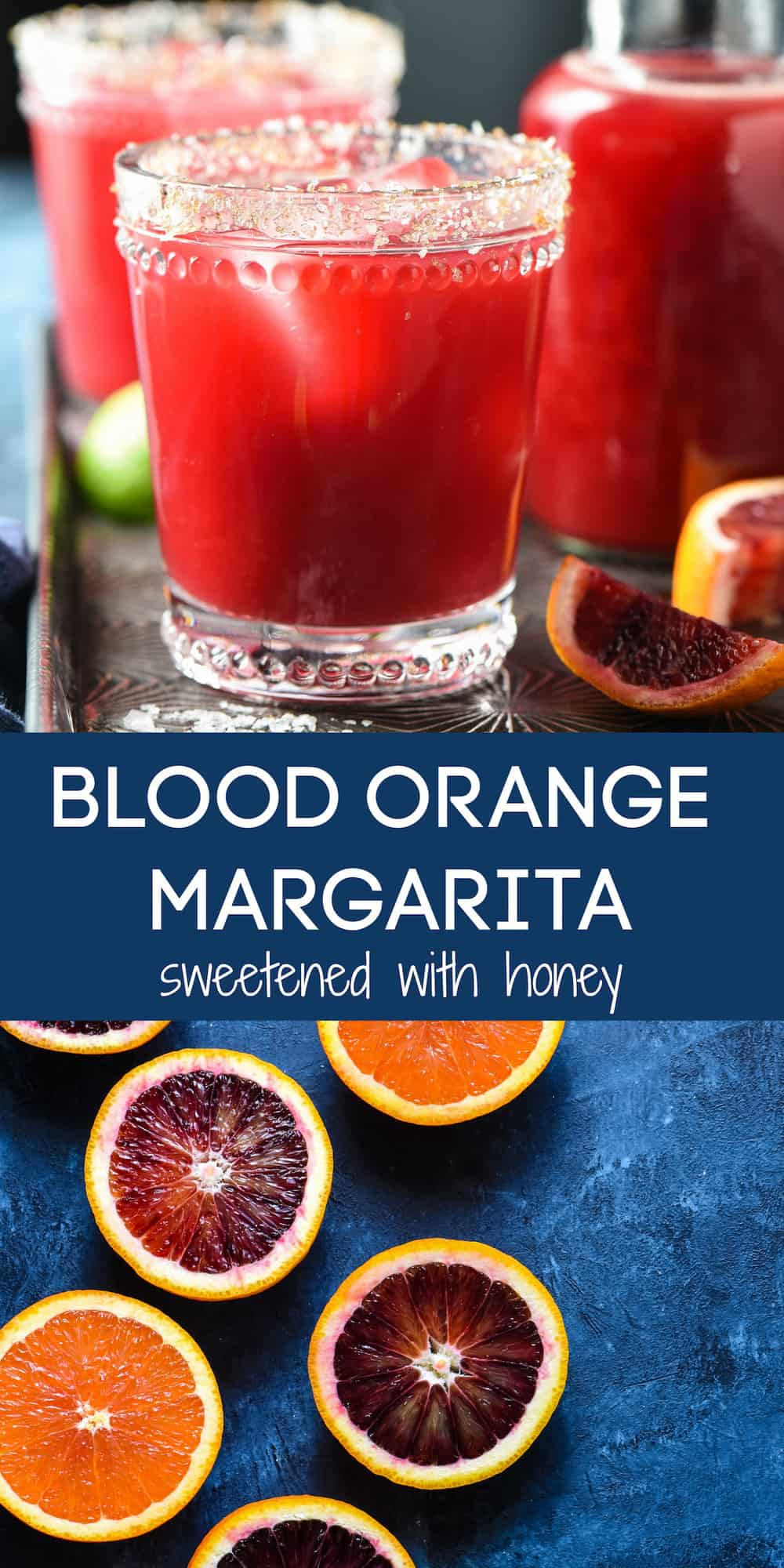 Collage of images of margaritas and cut winter citrus with overlay BLOOD ORANGE MARGARITA sweetened with honey