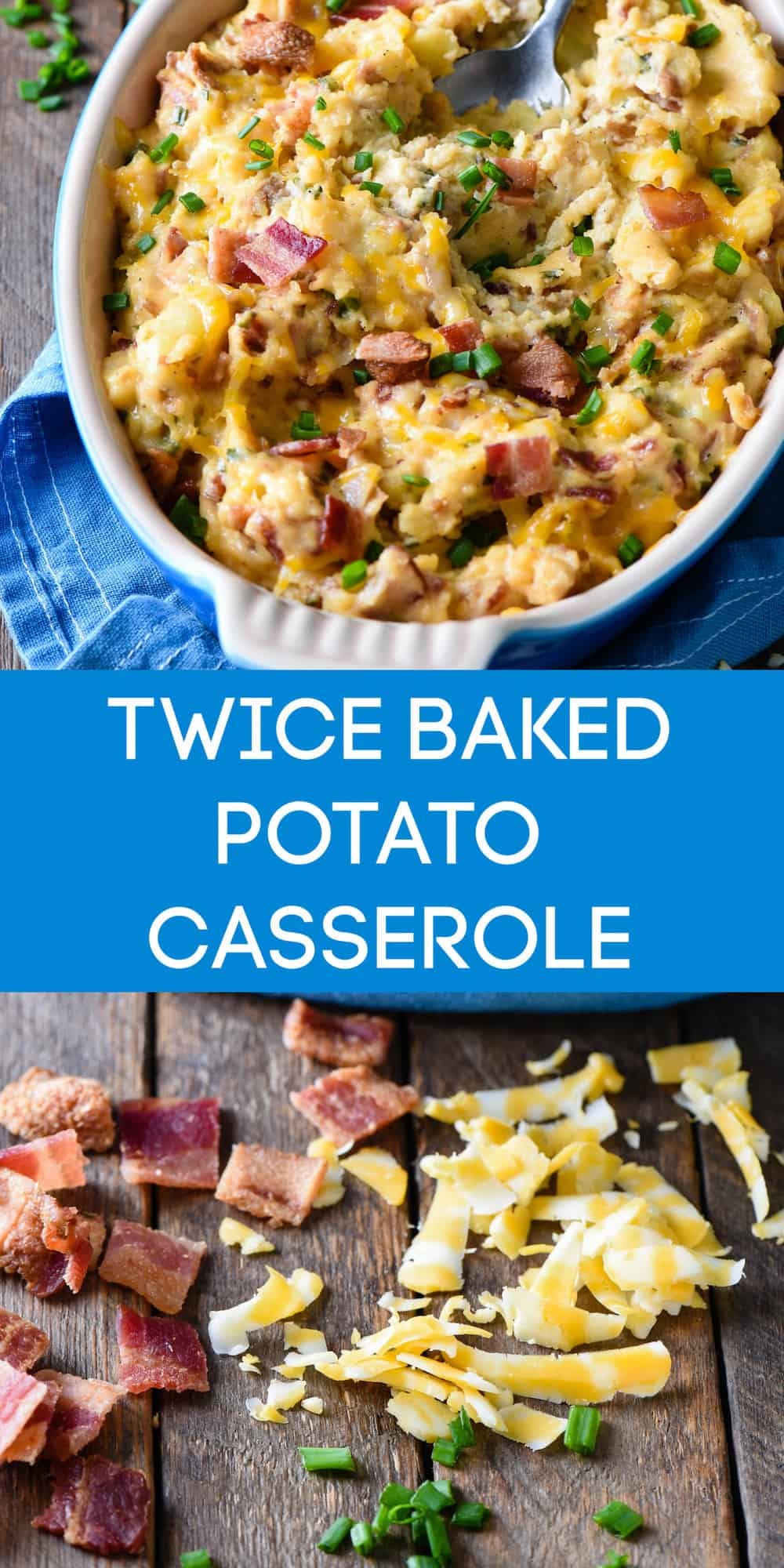 This Twice Baked Potato Casserole recipe is a perfect holiday side dish, but easy enough to make anytime. Smashed potatoes are mixed with cheese and bacon for a comforting and delicious casserole. | foxeslovelemons.com