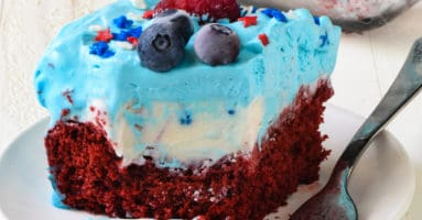 Square piece of patriotic ice cream cake on small white plate with fork.
