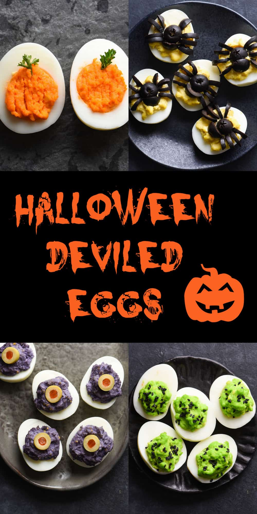Collage of deviled eggs decorated for Halloween with overlay: HALLOWEEN DEVILED EGGS