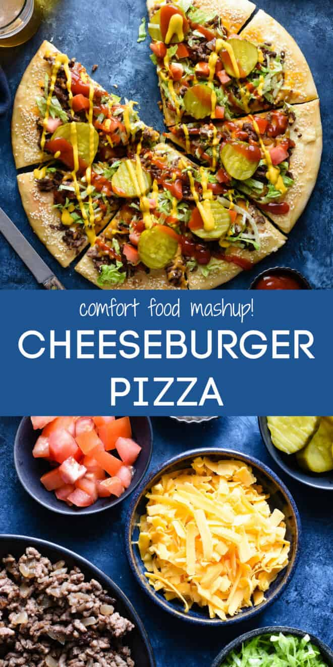 Collage of images of pizza and ingredients with overlay: comfort food mashup! CHEESEBURGER PIZZA