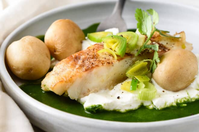 Golden brown seared piece of white fish, surrounded by yogurt, green sauce, potatoes and leeks.
