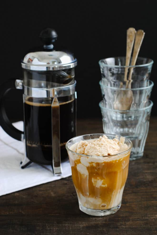 Small glass of affogato made with coffee and ice cream.