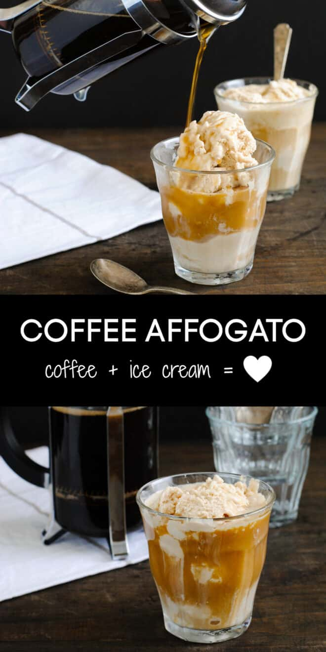 Collage of images of a coffee and ice cream dessert with overlay: COFFEE AFFOGATO coffee + ice cream = heart.