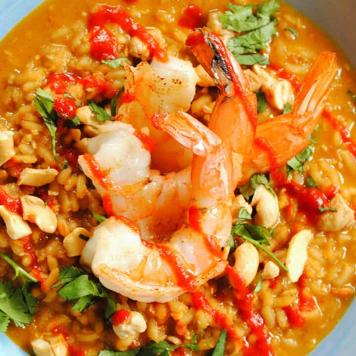 Three large shrimp on top of spicy orange risotto, garnished with cilantro.