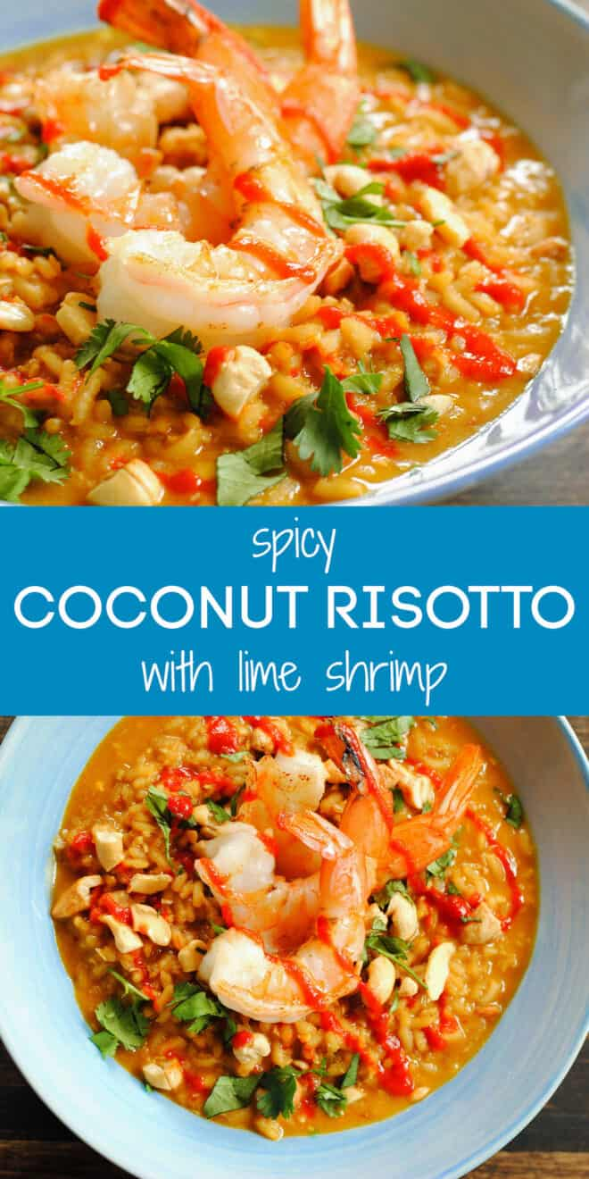 Collage of images of rice recipe topped with shrimp with overlay: spicy COCONUT RISOTTO with lime shrimp.