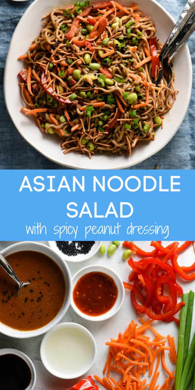 Collage of images of ingredients and finished salad with overlay: ASIAN NOODLE SALAD with spicy peanut dressing.