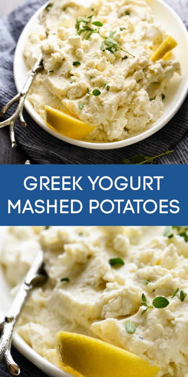 Collage of images of creamy spuds topped with lemons, cheese and herbs, with overlay: GREEK YOGURT MASHED POTATOES.