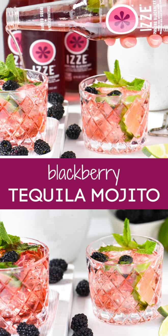 Collage of images of tequila cocktail with overlay: blackberry TEQUILA MOJITO.