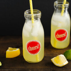 """Two small glass bottles with red """"cheers"""" stickers on them, filled with icy lemonade and yellow straws."""