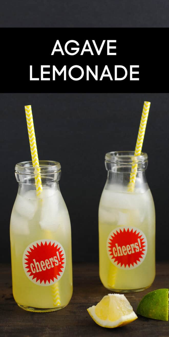 """Two small glass bottles with red """"cheers"""" stickers on them, filled with icy agave lemonade and yellow straws, with overlay: AGAVE LEMONADE."""