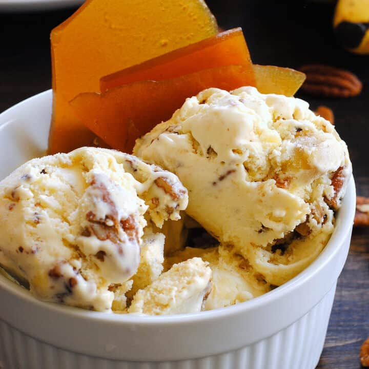 White ceramic bowl filled with nutty homemade ice cream and garnished with brown brittle.