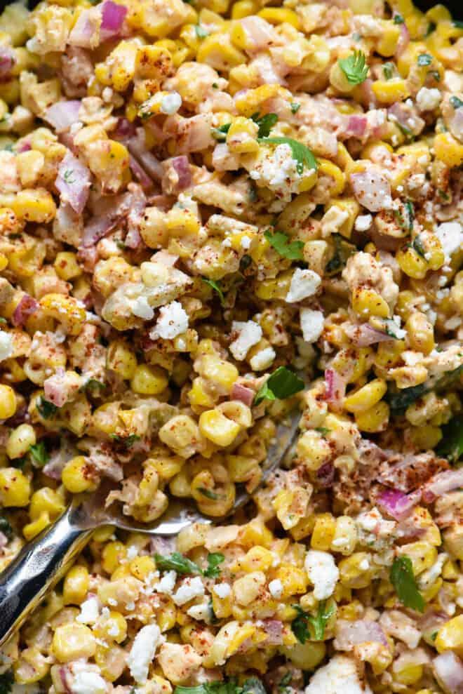 Closeup on corn and feta cheese salad dish.