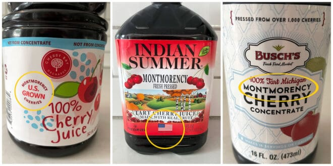 Collage of images of USA grown Montmorency tart cherry juice.