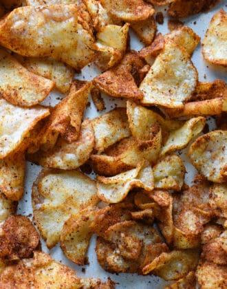 Closeup image of hot kettle crisps.