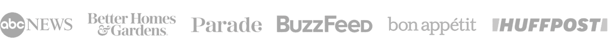 Logos: ABC news, BG&H, Parade, BuzzFeed, BonAppetit, HuffPost