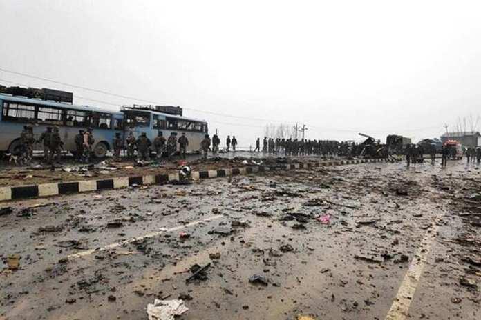 Horroific scene of Pulwama attack. India