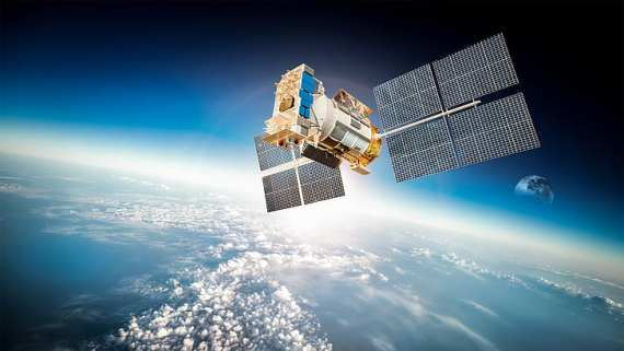 depicts a satelllite in the out earth surface