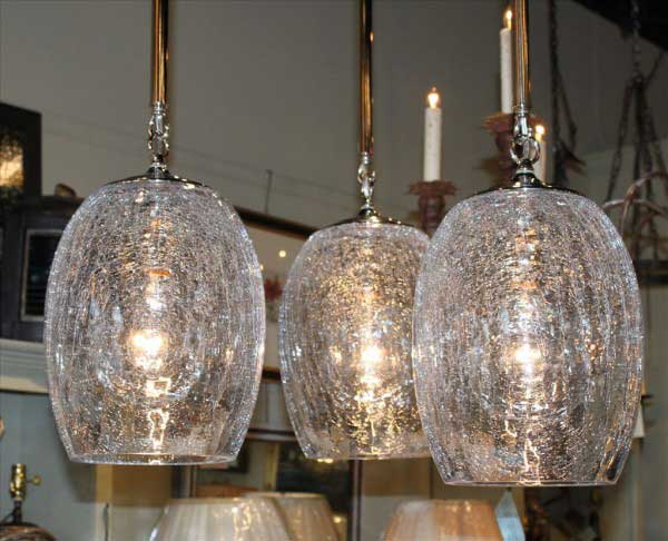 Set Of 3 Crackle Glass Globe Pendant Lights Foxglove