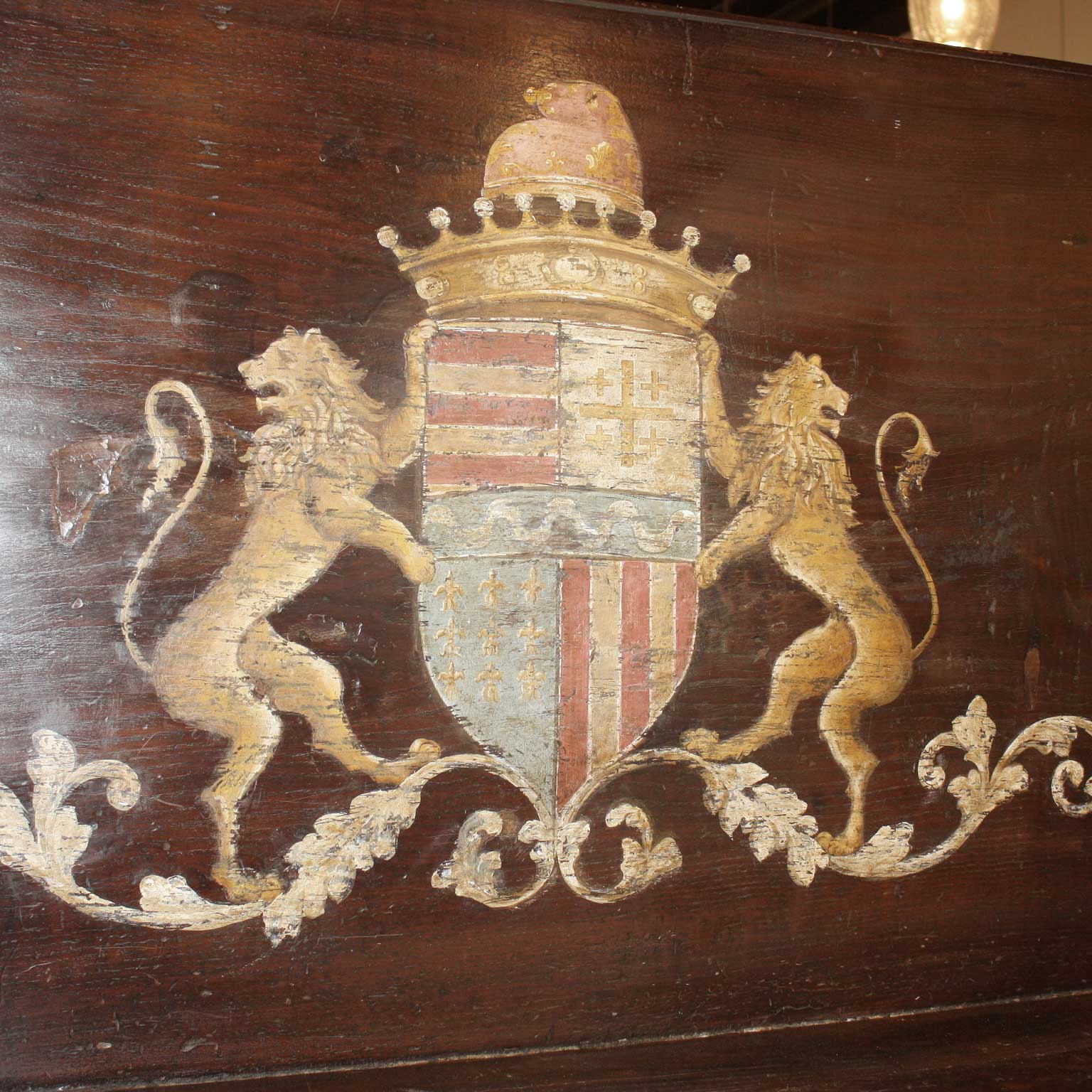 Italian Wooden Hall Bench With Painted Coat Of Arms And