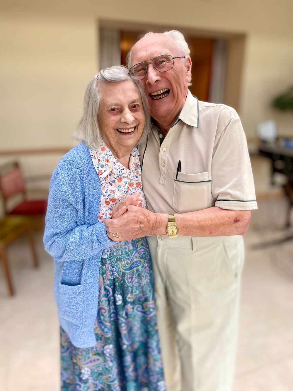 Bryan and Margaret reunited at Care Home, Hitchin