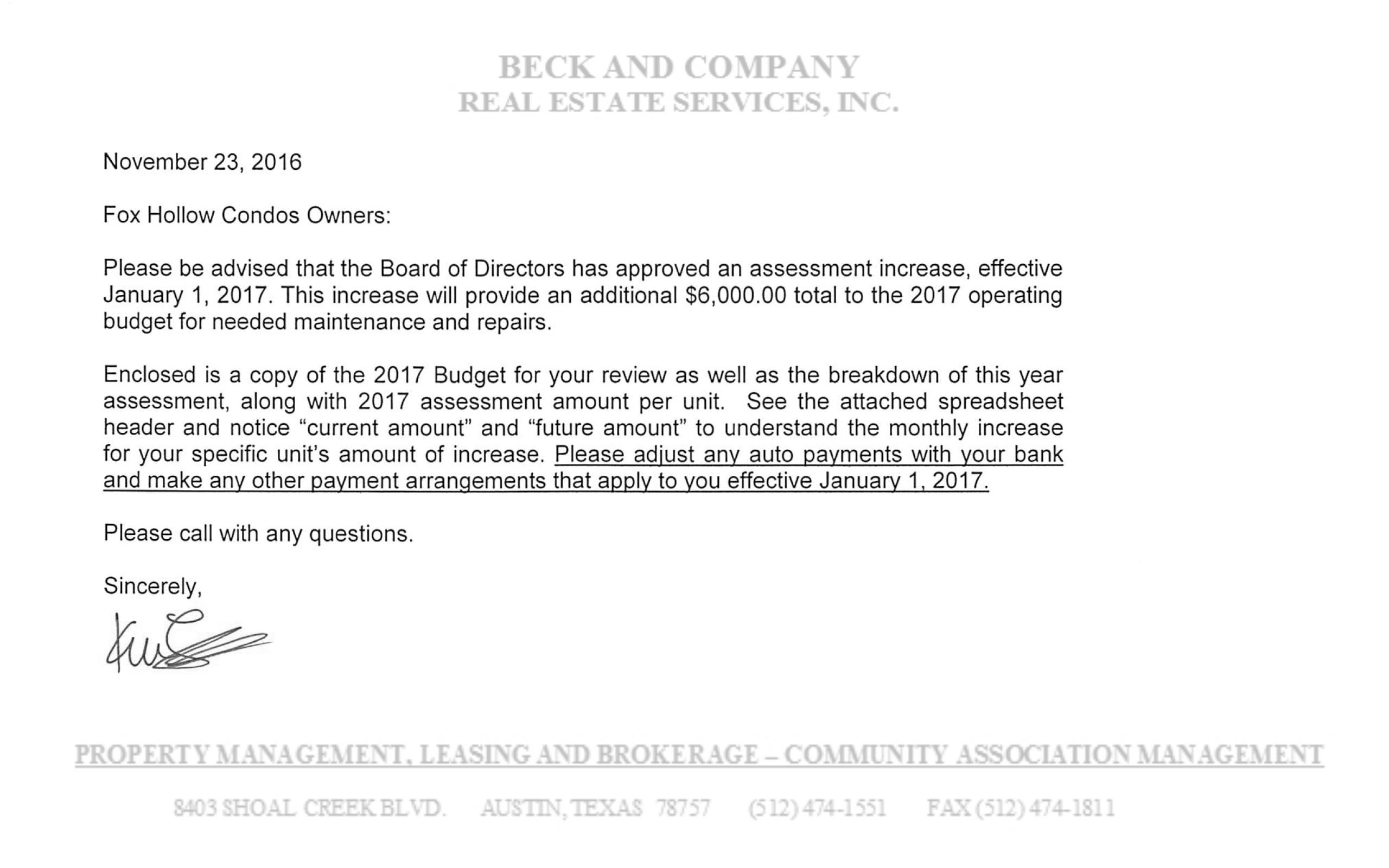 Hoa Assessment Letter Sample