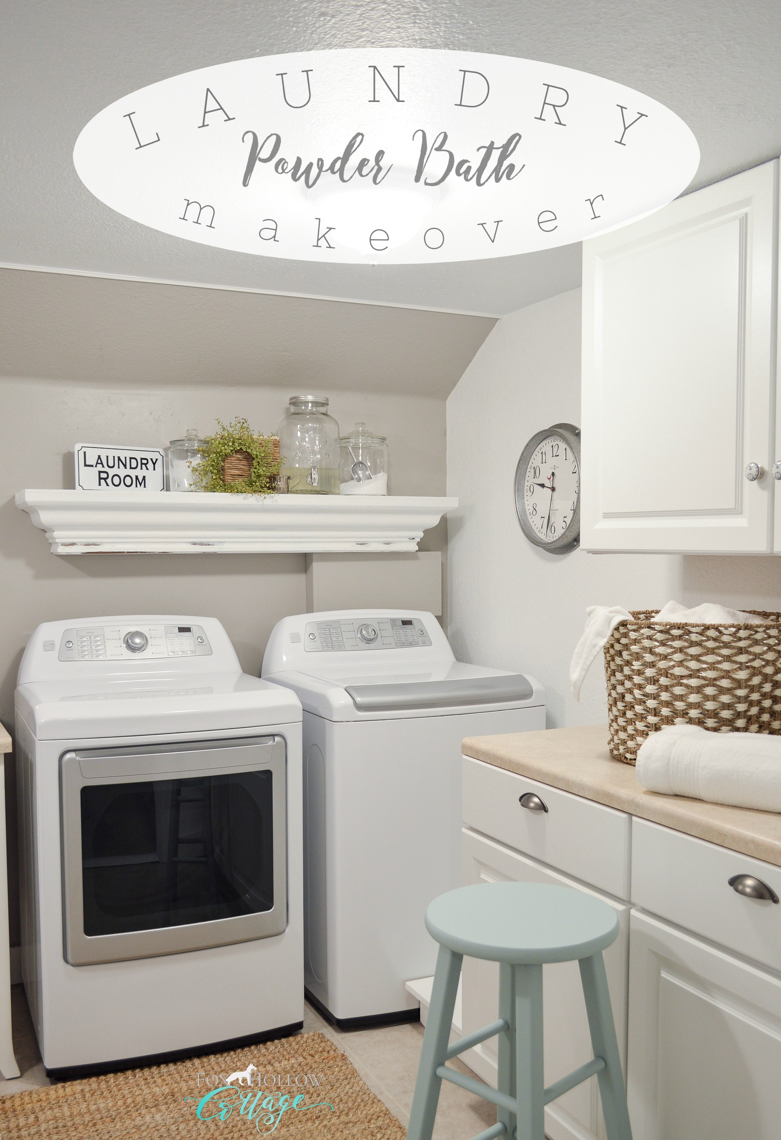 Small Space Combination Laundry Room Powder Bathroom Refresh