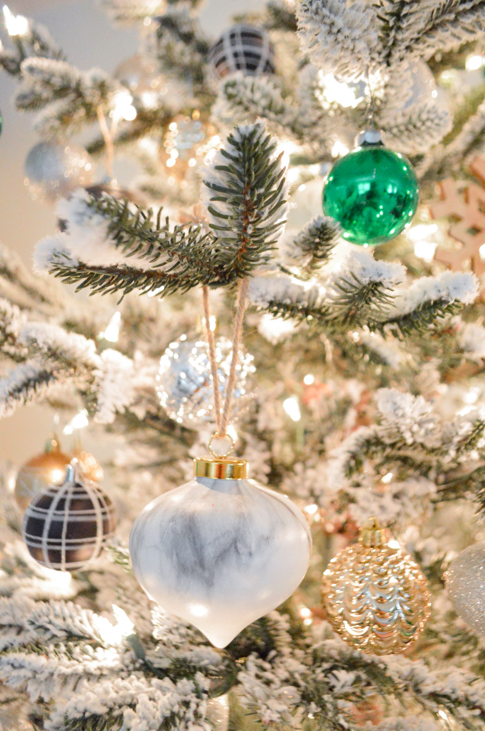 Lightly Flocked Natural Aspen Pine Christmas Tree in white gold green Fox Hollow Cottage www.foxhollowcottage.com 11