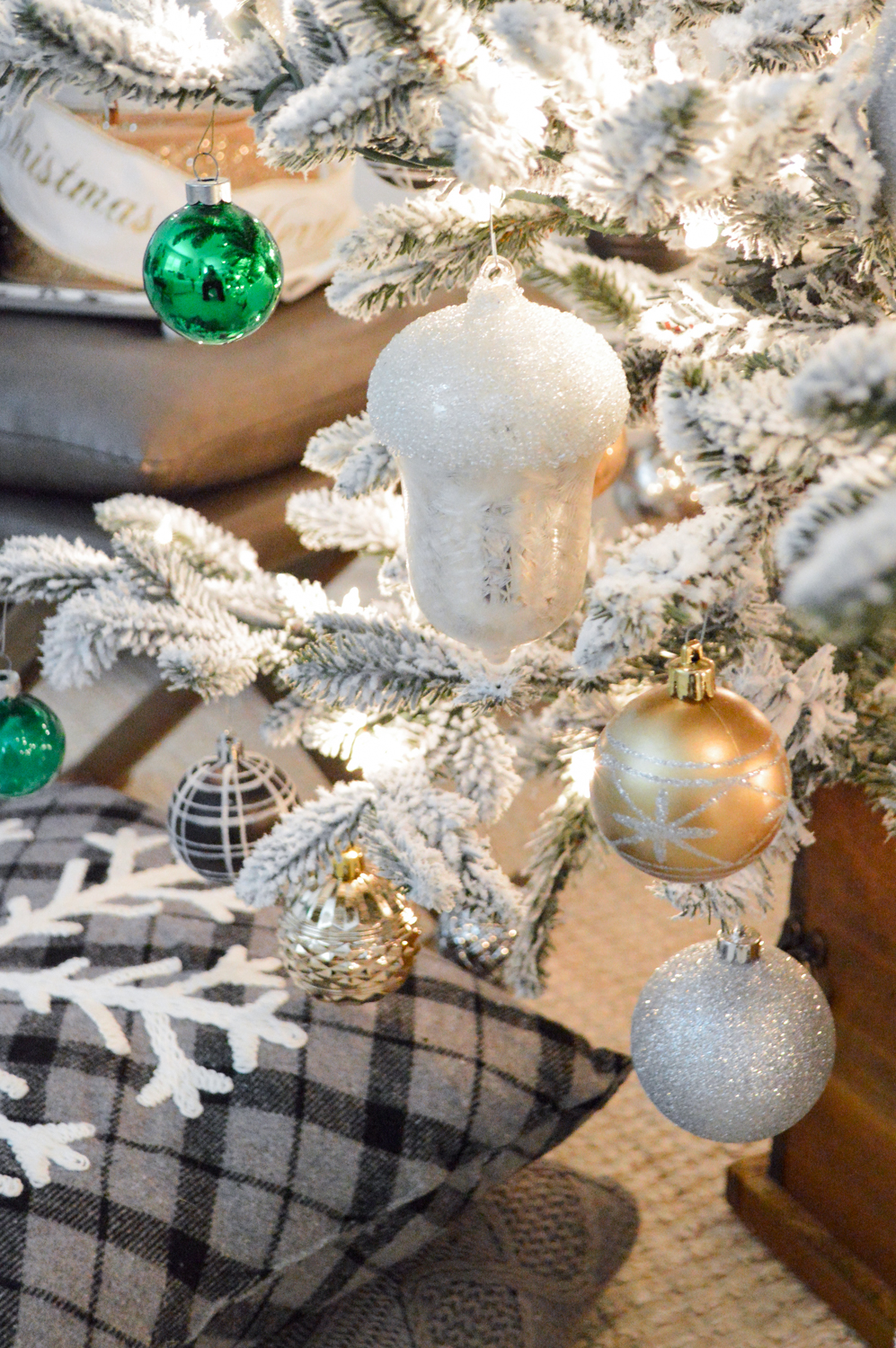 Lightly Flocked Natural Aspen Pine Christmas Tree in white gold green Fox Hollow Cottage www.foxhollowcottage.com 14