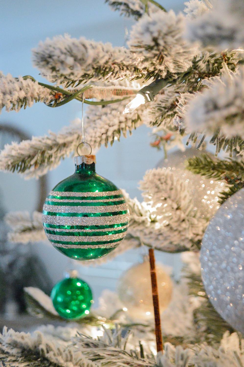 Lightly Flocked Natural Aspen Pine Christmas Tree in white gold green Fox Hollow Cottage www.foxhollowcottage.com 16