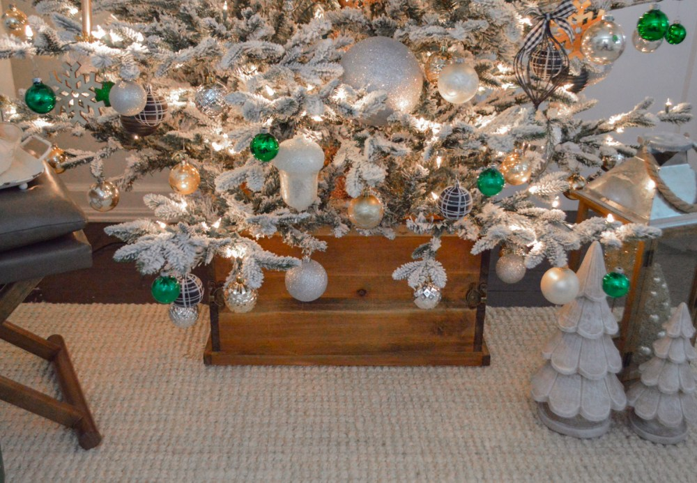 Lightly Flocked Natural Aspen Pine Christmas Tree in white gold green Fox Hollow Cottage www.foxhollowcottage.com 34