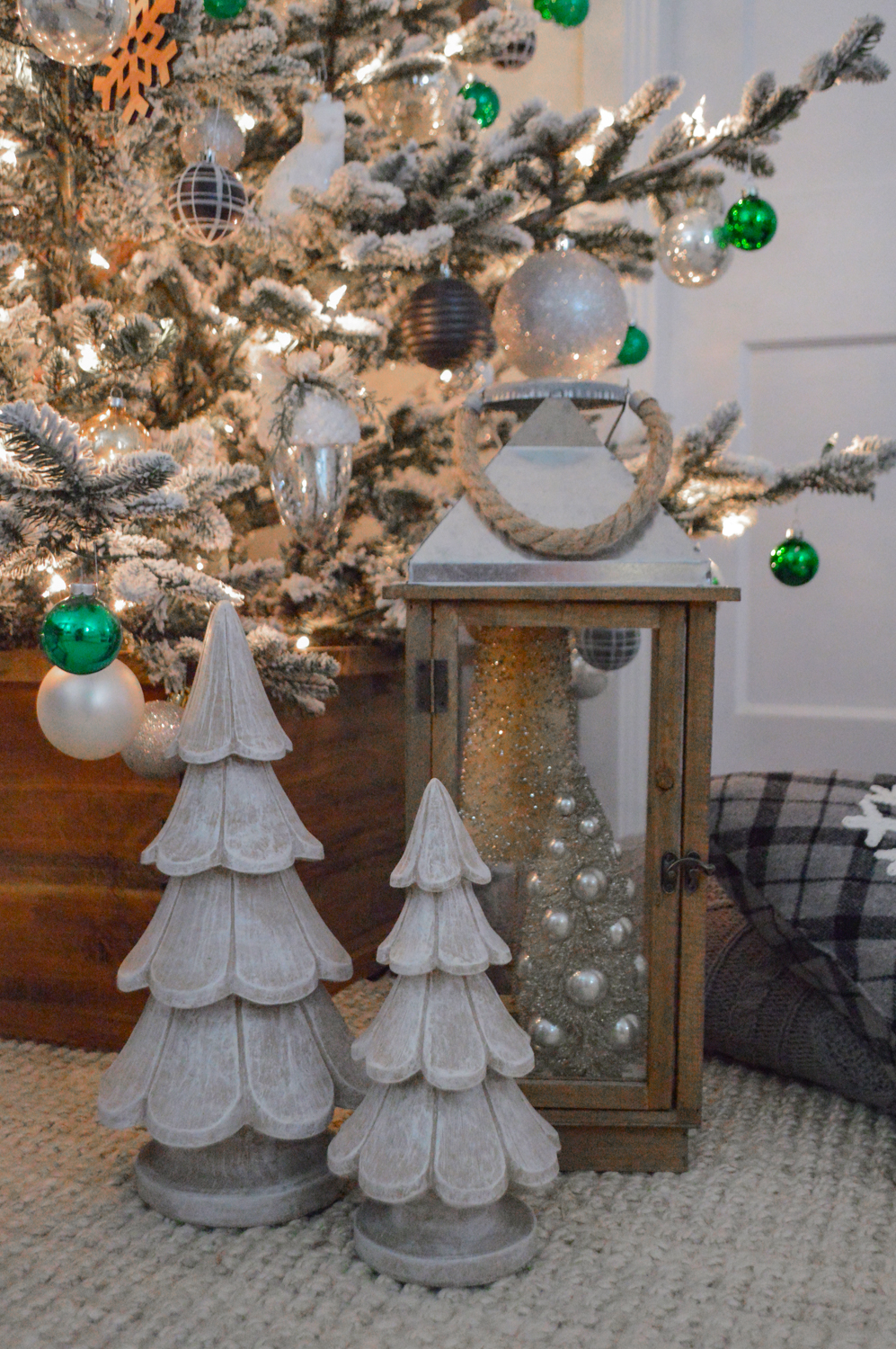 Lightly Flocked Natural Aspen Pine Christmas Tree in white gold green Fox Hollow Cottage www.foxhollowcottage.com 39