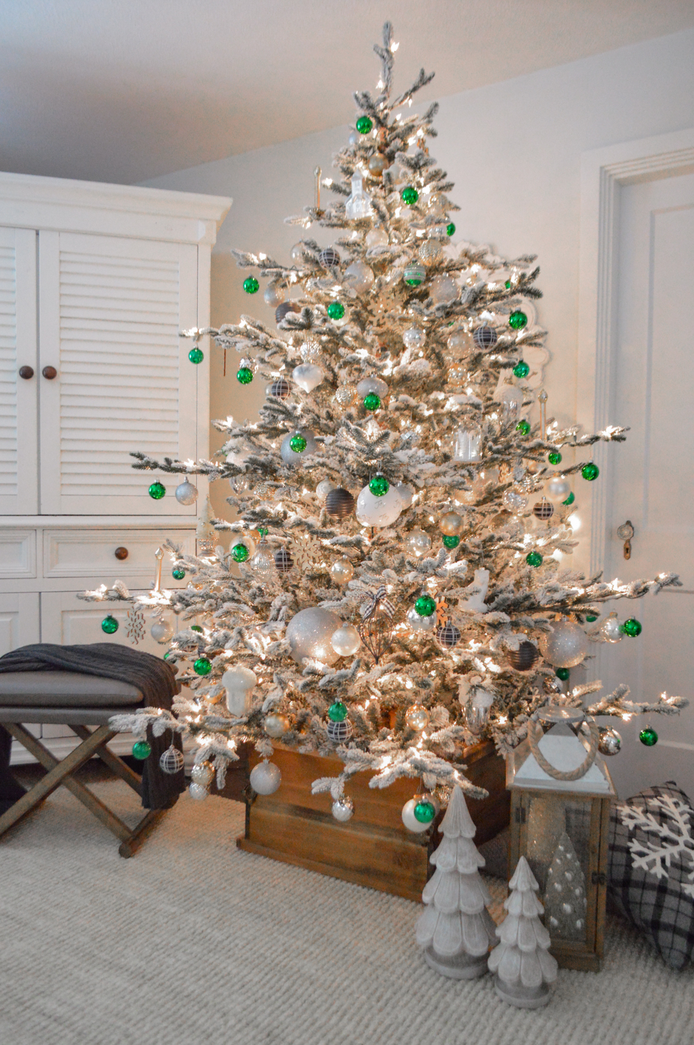 Lightly Flocked Natural Aspen Pine Christmas Tree in white gold green Fox Hollow Cottage www.foxhollowcottage.com 43