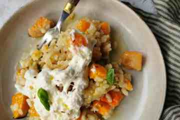 Lekkerste vegetarische risotto pompoen mozzarella