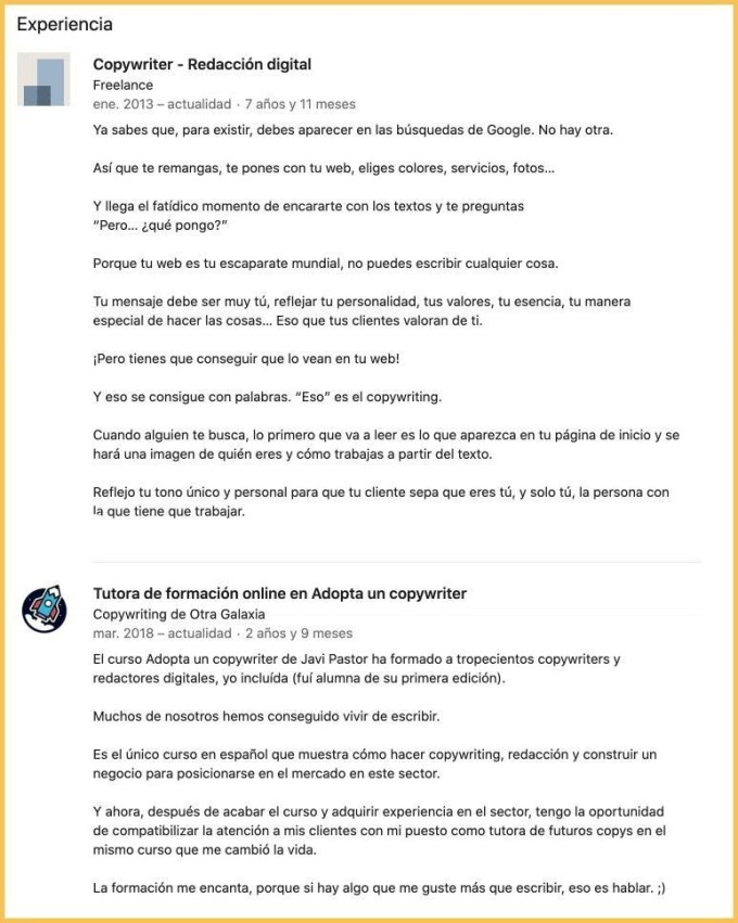 Experiencia de LinkedIn en redacción publicitaria