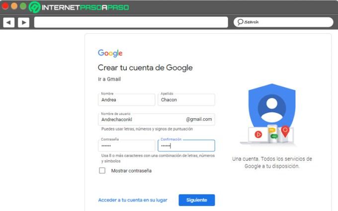 crear un formulario de cuenta de gmail