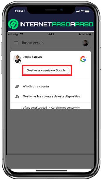 administrar cuenta de gmail desde iphone