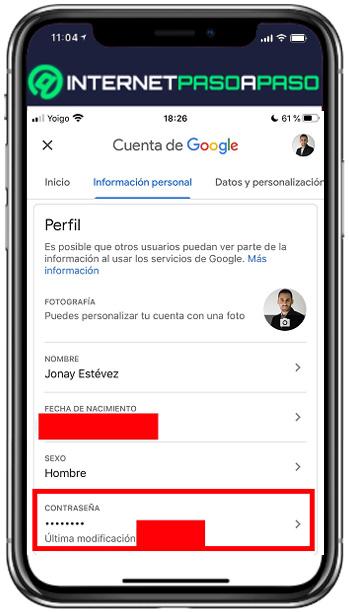 cambiar la contraseña de gmail desde iphone