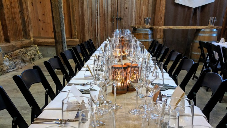Table set up at Fox Run's Tasting Blocks Dinner