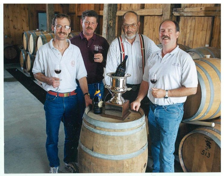 NY Governor's Cup award 1997- Fox Run winemaker, vineyard manager, and owners posing with the cup